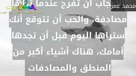 الإعجاب أن تفرح عندما تراها مصادفة، والحب أن تتوقع أنك ستراها اليوم قبل أن تجدها أمامك، هناك أشياء أكبر من المنطق والمصادفات -محمد عمر