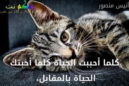 كلما أحببت الحياة كلما أحبتك الحياة بالمقابل. -أنيس منصور