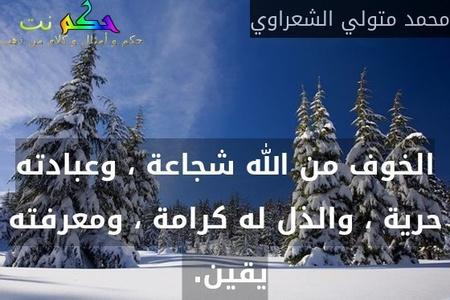 الخوف من الله شجاعة ، وعبادته حرية ، والذل له كرامة ، ومعرفته يقين. -محمد متولي الشعراوي