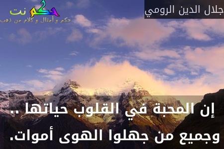 إن المحبة في القلوب حياتها .. وجميع من جهلوا الهوى أموات. -جلال الدين الرومي