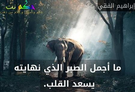ما أجمل الصبر الذي نهايته يسعد القلب. -إبراهيم الفقي