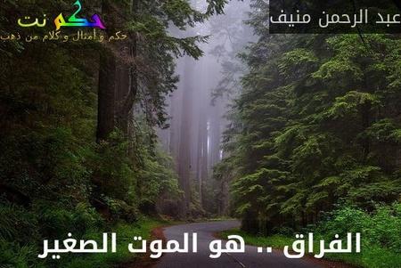 الفراق .. هو الموت الصغير-عبد الرحمن منيف
