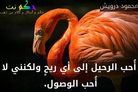 أُحب الرحيل إلى أي ريحٍ ولكنني لا أُحب الوصول. -محمود درويش