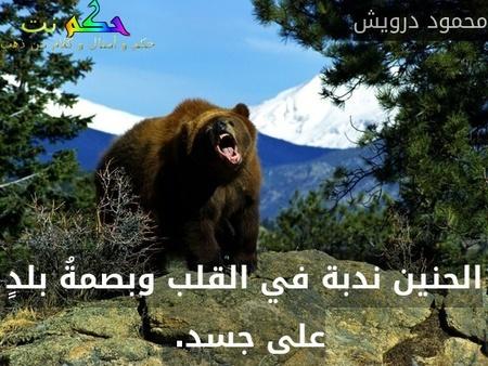 الحنين ندبة في القلب وبصمةُ بلدٍ على جسد. -محمود درويش