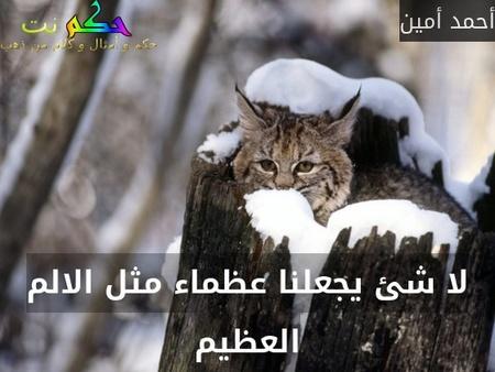 لا شئ يجعلنا عظماء مثل الالم العظيم-أحمد أمين