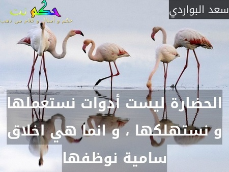 الحضارة ليست أدوات نستعملها و نستهلكها ، و انما هي اخلاق سامية نوظفها-سعد البواردي
