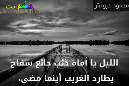 الليل يا أماه ذئب جائع سفاح يطارد الغريب أينما مضى. -محمود درويش