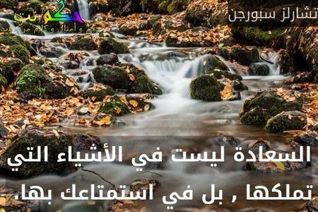 السعادة ليست في الأشياء التي تملكها , بل في استمتاعك بها. -تشارلز سبورجن