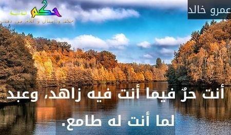 أنت حرٌ فيما أنت فيه زاهد، وعبد لما أنت له طامع. -عمرو خالد