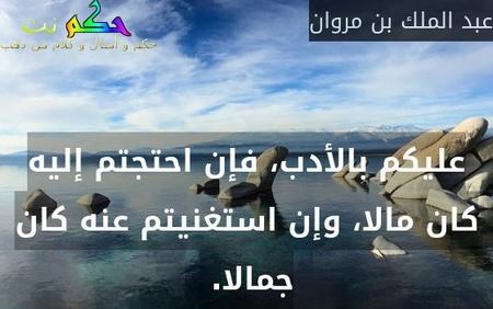 عليكم بالأدب، فإن احتجتم إليه كان مالا، وإن استغنيتم عنه كان جمالا. -عبد الملك بن مروان