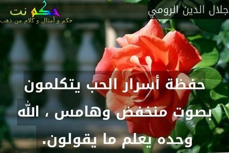 حفظة أسرار الحب يتكلمون بصوت منخفض وهامس ، الله وحده يعلم ما يقولون. -جلال الدين الرومي