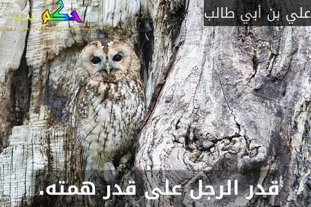 قدر الرجل على قدر همته. -علي بن أبي طالب