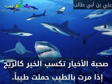 صحبة الأخيار تكسب الخير كالريح إذا مرت بالطيب حملت طيباً. -علي بن أبي طالب