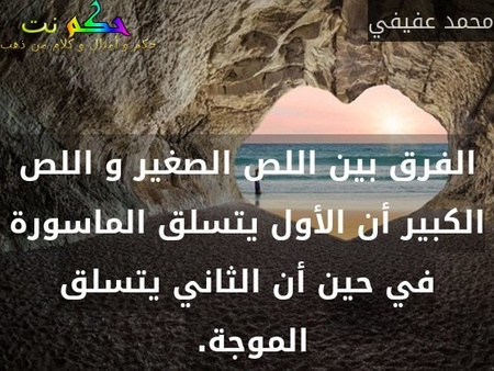 الفرق بين اللص الصغير و اللص الكبير أن الأول يتسلق الماسورة في حين أن الثاني يتسلق الموجة. -محمد عفيفي
