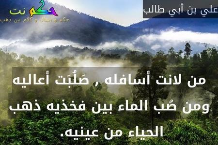 من لانت أسافله , صَلُبَت أعاليه ومن صُب الماء بين فخذيه ذهب الحياء من عينيه. -علي بن أبي طالب