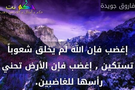 إغضب فإن اللهَ لَم يخلق شعوباً تستكين , إغضب فإن الأرض تحني رأسها للغاضبين. -فاروق جويدة