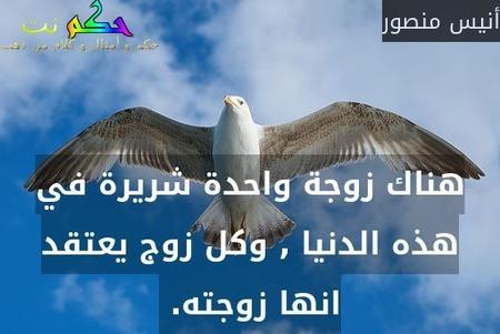 هناك زوجة واحدة شريرة في هذه الدنيا , وكل زوج يعتقد انها زوجته. -أنيس منصور