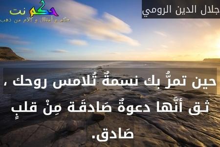 حين تمرُّ بك نسمةٌ تُلامس روحك ، ثـق أنَّها دعوةٌ صَادقَـة مِنْ قلبٍ صَادق. -جلال الدين الرومي