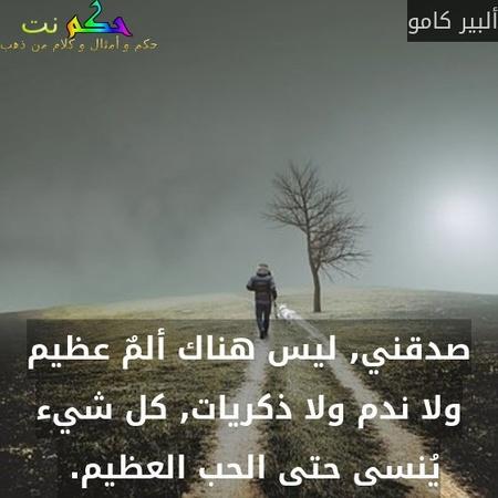 صدقني, ليس هناك ألمٌ عظيم ولا ندم ولا ذكريات, كل شيء يُنسى حتى الحب العظيم. -ألبير كامو
