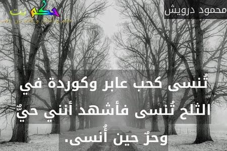 تُنسى كحب عابر وكوردة في الثلح تُنسى فأشهد أنني حيٌّ وحرٌ حين أُنسى. -محمود درويش