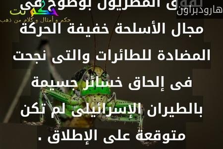 تفوق المصريون بوضوح فى مجال الأسلحة خفيفة الحركة المضادة للطائرات والتى نجحت فى إلحاق خسائر جسيمة بالطيران الإسرائيلى لم تكن متوقعة على الإطلاق .-هارودبراون