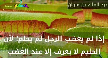 إذا لم يغضب الرجل لم يحلم؛ لأن الحليم لا يعرف إلا عند الغَضَب-عبد الملك بن مروان