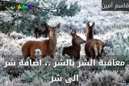 معاقبة الشر بالشر .. اضافة شر الى شر-قاسم أمين