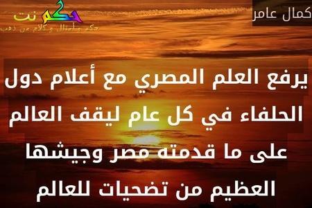 يرفع العلم المصري مع أعلام دول الحلفاء في كل عام ليقف العالم على ما قدمته مصر وجيشها العظيم من تضحيات للعالم-كمال عامر