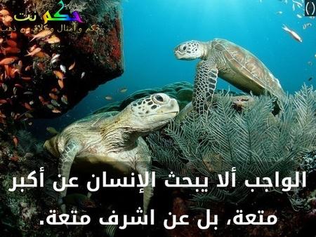الواجب ألا يبحث الإنسان عن أكبر متعة، بل عن اشرف متعة.-()