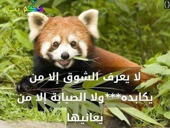 لا يعرف الشوق إلا من يكابده***ولا الصبابة إلا من يعانيها-()