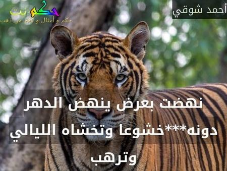 نهضت بعرض ينهض الدهر دونه***خشوعا وتخشاه الليالي وترهب-أحمد شوقي