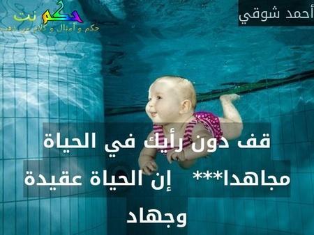 قف دون رأيك في الحياة مجاهدا***   إن الحياة عقيدة وجهاد-أحمد شوقي