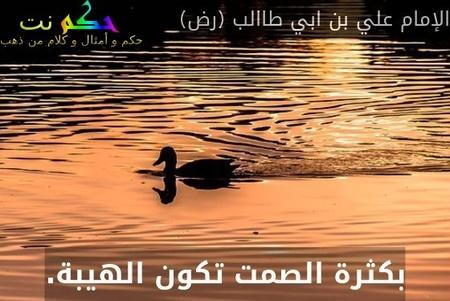 بكثرة الصمت تكون الهيبة.-الإمام علي بن ابي طاالب (رض)