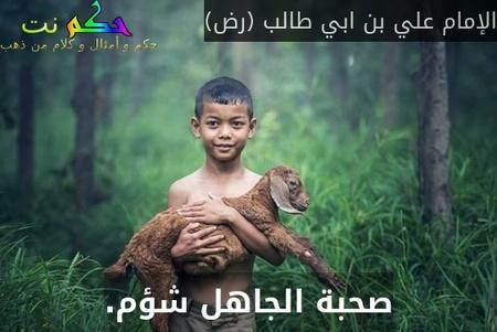 صحبة الجاهل شؤم.-الإمام علي بن ابي طالب (رض)