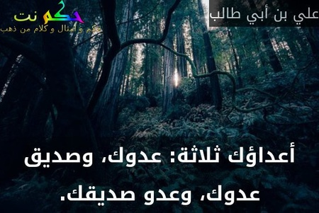 أعداؤك ثلاثة: عدوك، وصديق عدوك، وعدو صديقك.-علي بن أبي طالب