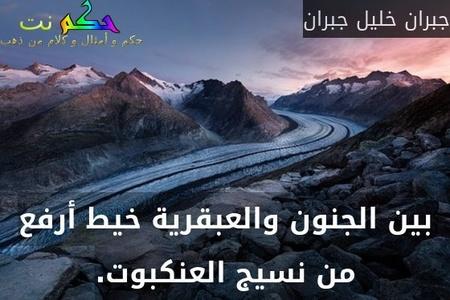 بين الجنون والعبقرية خيط أرفع من نسيج العنكبوت.-جبران خليل جبران