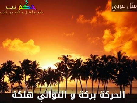 الحركة بركة و التواني هلكة-مثل عربي