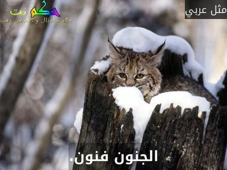 الجنون فنون.-مثل عربي