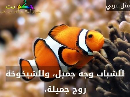 للشباب وجه جميل، وللشيخوخة روح جميلة.-مثل عربي