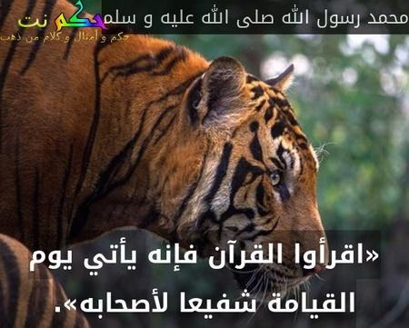 «اقرأوا القرآن فإنه يأتي يوم القيامة شفيعا لأصحابه».-محمد رسول الله صلى الله عليه و سلم