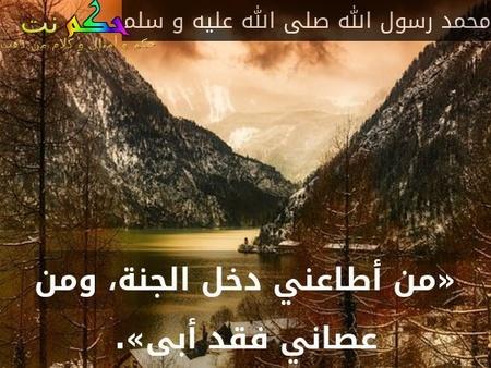«من أطاعني دخل الجنة، ومن عصاني فقد أبى».-محمد رسول الله صلى الله عليه و سلم