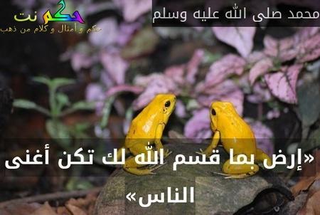 «إرض بما قسم الله لك تكن أغنى الناس»-محمد صلى الله عليه وسلم