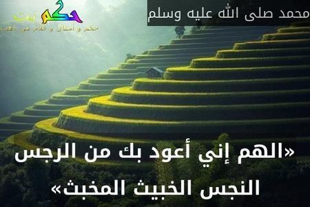 «الهم إني أعود بك من الرجس النجس الخبيث المخبث»-محمد صلى الله عليه وسلم