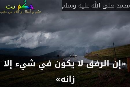 «إن الرفق لا يكون في شيء إلا زانه»-محمد صلى الله عليه وسلم