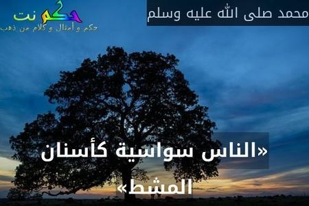 «الناس سواسية كأسنان المشط»-محمد صلى الله عليه وسلم