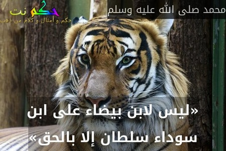 «ليس لابن بيضاء على ابن سوداء سلطان إلا بالحق»-محمد صلى الله عليه وسلم