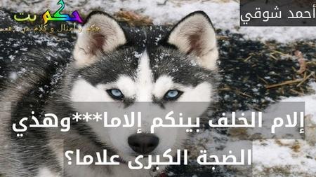 إلام الخلف بينكم إلاما***وهذي الضجة الكبرى علاما؟-أحمد شوقي