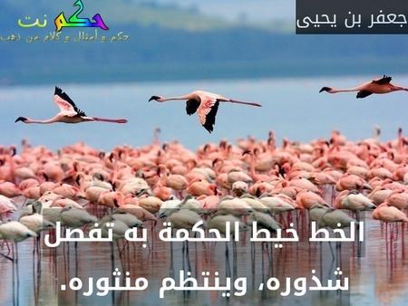 الخط خيط الحكمة به تفصل شذوره، وينتظم منثوره.-جعفر بن يحيى