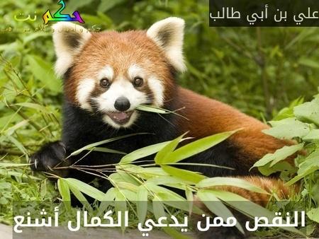 النقص ممن يدعي الكمال أشنع-علي بن أبي طالب